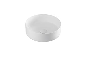 Flat round ceramic above counter basin Matt white