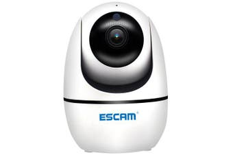ESCAM PVR008 H.265 Auto Tracking PTZ Pan / Tilt 2MP HD 1080P Wireless Two-way Talk Night Vision Network IP Camera- White EU Plug