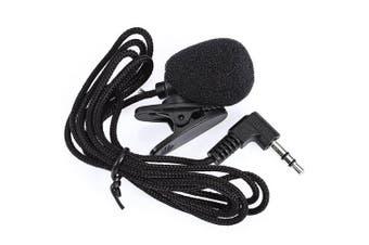 N - P2 Mini 30Hz - 15000Hz 3.5mm Tie Lapel Lavalier Clip Microphone for Lecture Teaching / Video Chatting- Black Bent Connector