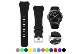 22MM Silicone Watch Band Wrist Strap for Samsung Gear S3 Frontier Classic- Black