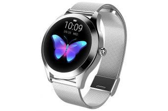 KingWear KW10 Smart Watch- Silver Steel strap