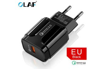 OLAF 3A Fast Charging Mobile Phone USB Charger Wall Stable Charger USB Adapter- Black EU