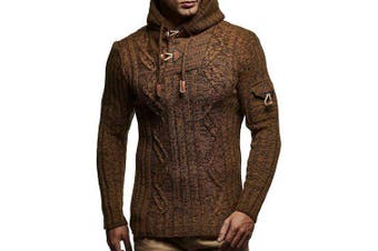 Men's Fashion Drawstring Sweater Hooded Casual Slim Knit Top- Camel brown 2XL