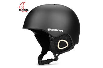 MOON Outdoor Integrated Skiing Helmet with Adjustable Strap Air Vent for Cycling Skating- Black M