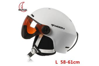 MOON Outdoor Integrated Skiing Helmet with Goggle Air Vents PC Shell EPS Body Cycling Skating Safety- White L 58 to 61cm China