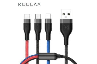 KUULAA 3 in 1 USB Cable For Mobile Phone Micro USB Type C Charger Cable- Multi 30cm