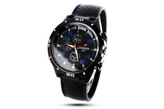 Weijieer 5020 Analog Quartz Watch Rubber Band Round Dial for Men- Blue