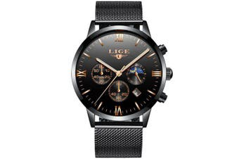 LIGE Mens Watches Waterproof Stainless Steel Quartz Watch Luxury Brand Business Wristwatch- Multi-A