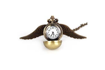 Popular Harry Potter Enchanted Snitch Steampunk Locket Ball with Double Sided Brass Wings Necklace Pocket Quartz Watch- Bronze-colored