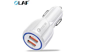 OLAF Car USB Charger Quick Charge 3.0 2.0 Mobile Phone Charger 2 Port USB Fast Car Charger- White Car Charger