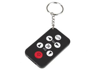 Mini Universal Ultra-thin Multi-function Keychain TV Remote Control- Black RM-8S