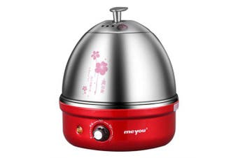 Full Stainless Steel Electric Egg Cooker With Auto Shut Off Up To 7 Eggs- Red China
