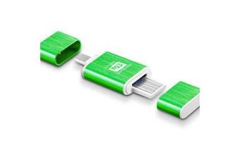 Metal Micro SD / TF Card Reader USB + OTG Combo- Green
