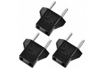 Minismile 3PCS Universal 6A US Socket to EU Plug Power Adapter / Charger Kit- Black