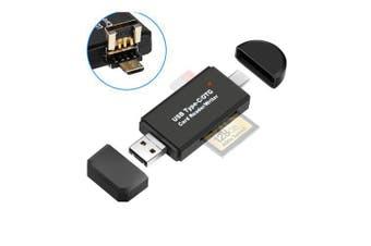 3 in 1 Usb Multi Memory Card Reader OTG Type C Android Adapter Cardreader- Black
