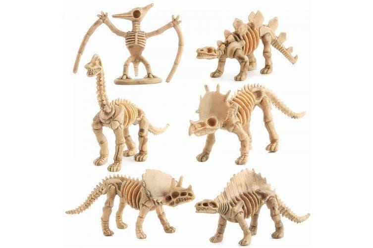 12PCS Assorted Dinosaur Skeleton Toy Figures Made of Plastic- Peach