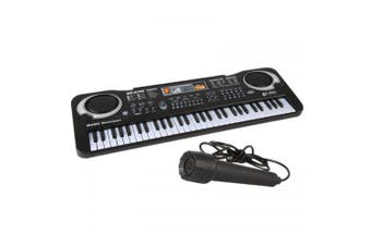 61KEY Digital Music Electronic Musical Instrument with Microphone- Black EU Plug