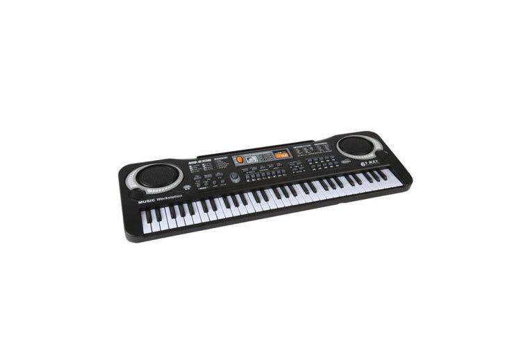 61KEY Digital Music Electronic Musical Instrument with Microphone- Black EU Plug