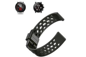 Soft Silicone Watch Band Wrist Strap for Xiaomi Huami Amazfit Pace Stratos 2/2S- Black