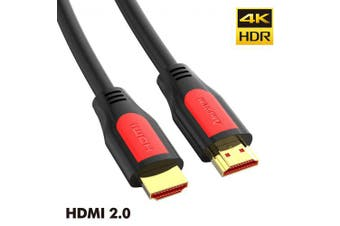 AMPCOM HD series HDMI Cable 2.0 Zinc Alloy Shell Gold Plated for HD 4K 60Hz 3D HDR ARC- 50cm Red black