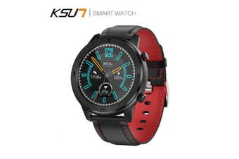 KSUN KSR914 Smart Watch Bracelet Fitness Tracker Men Women Wearable Devices Smart Band- Leather Red