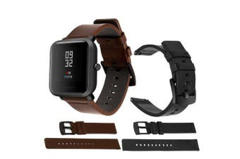 Genuine Leather Watch Band Wrist Strap for Xiaomi Huami Amazfit Bip Youth- Brown