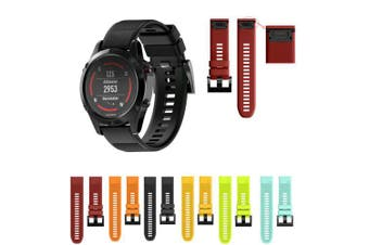 22MM Quick Release Sport Silicone Watch Band Strap + Tool For Garmin Fenix 5- Red