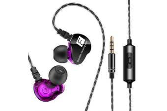 QKZ CK9 3.5mm In-ear Dual Dynamic Unit Earbuds HiFi Earphone- Purple Flower
