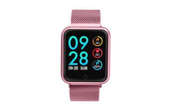 P68 Bluetooth Smartwatch IP68 Waterproof Heart Rate Monitor Sports Tracker Smart Watch- Rose Gold 1pc