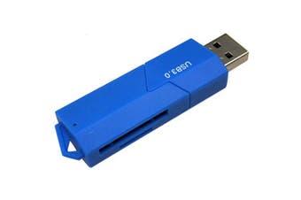 Sliding Closure USB 3.0 TF / SD Card Reader- Blue