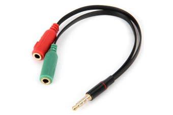 Multifunctional 3.5mm Male to 2 Female Earphone Headphone Splitter Mic Audio Y Adapter Line Cable- Black