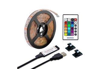 ZDM 1M Waterproof USB 5050 RGB LED Flexible Strip Light with 24 Key IR Remote- Multi 1 Meters