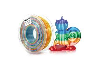 Noulei PLA 3D Printer Filament Silk Rainbow Shiny Multicolor 1.75mm 1kg Spool- Multi-X