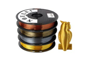 Noulei 3D Printer PLA Filament Silk 1.75mm 500g Spool Dimensional Accuracy +/- 0.02mm 4pcs- Multi-A