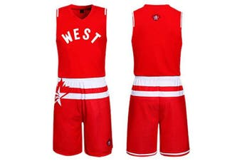 Men Breathable Sleeveless Basketball Suit for Exercising- Red 5XL