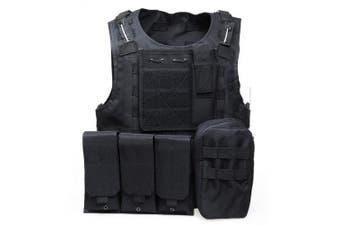 Outlife Tactical Vest Military Swat Field Battle Airsoft Molle Combat Assault Plate Carrier Vest- Black