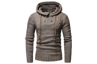 WSGYJ Men Sweater Hooded Double Breasted- Camel brown L