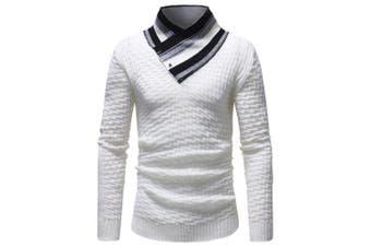 Stylish High Collar Splicing Long Sleeve Men Sweater- White XL