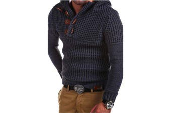 Men'S High Quality Design Fashion Hooded Solid Color Sweater Pullover- Dark Gray L