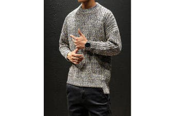 Autumn And Winter Sweater Men Thin Round Neck Pullover Knit Bottoming Shirt- Gray L