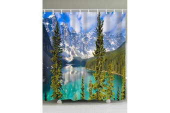 Snow Mountain Lake Print Waterproof Shower Curtain- Colormix W59 inch * L71 inch