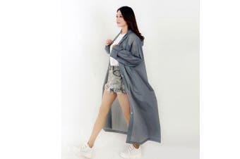Fashion Women Men Raincoat Thickened Waterproof Rain Coat Transparent Camping Waterproof Rainwear- One Size Gray