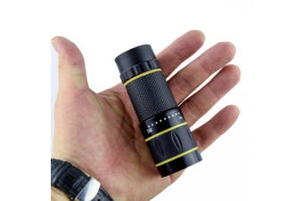 10X22 Portable Monocular with Adjustable Objective and Eyepiece Lenses- Black