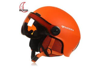 MOON Outdoor Integrated Skiing Helmet with Goggle Air Vents PC Shell EPS Body for Cycling Skating- Orange L