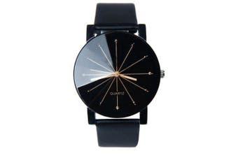 New Fashion Men Radial Quartz Casual Watch- Black