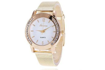 Men Gold Mesh Quartz Watch Women Metal Stainless Steel Dress Watches- White