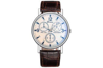 Geneva Man Fashion Business Quartz Watch- Brown