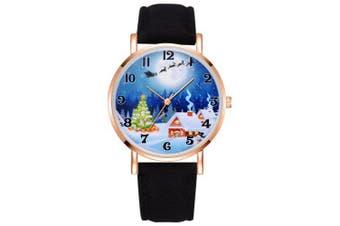 XR2496 Christmas Series Analog Quartz PU Leather Quartz Watch for Women- Black