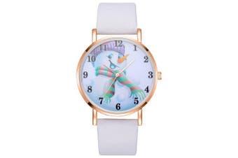 XR2492 Women's Snowman Dial Analog Quartz Leather Wrist Watch- White