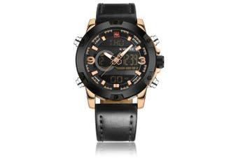 NAVIFORCE Luxury Brand Men Analog Digital Leather Sports Watches- Black